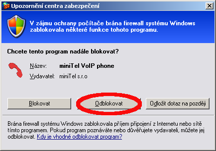 During the first start it may be necessary to authorize the program Odorik.exe for Internet access.